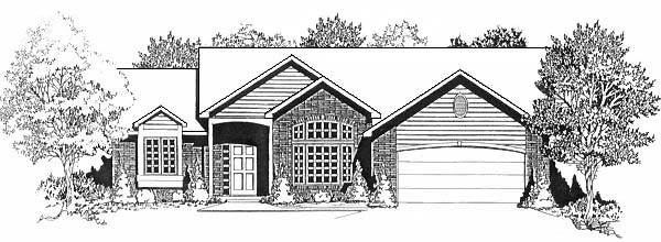 One-Story, Traditional House Plan 62593 with 3 Beds, 2 Baths, 2 Car Garage Elevation