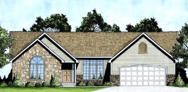 One-Story, Traditional House Plan 62594 with 3 Beds, 2 Baths, 2 Car Garage Elevation