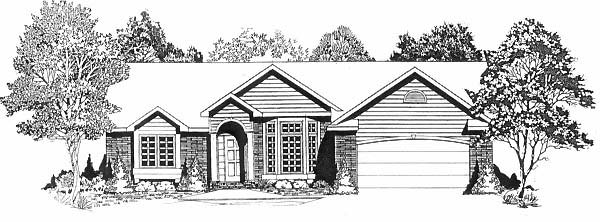 House Plan 62596 | Traditional Style Plan with 1704 Sq Ft, 4 Bedrooms, 2 Bathrooms, 2 Car Garage Elevation