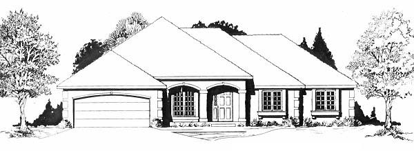 One-Story, Traditional House Plan 62597 with 3 Beds, 2 Baths, 2 Car Garage Elevation