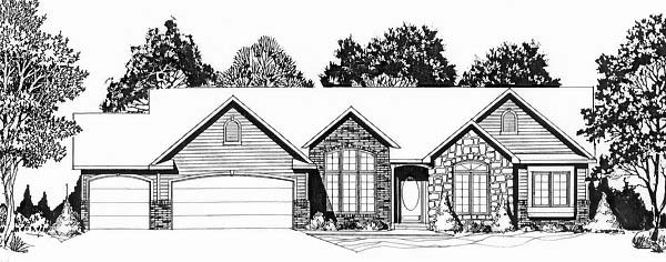 European House Plan 62598 with 3 Beds, 2 Baths, 2 Car Garage Elevation