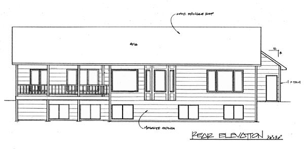 European House Plan 62601 Rear Elevation