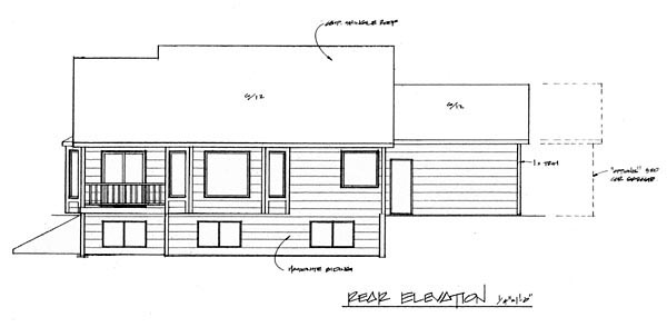 Traditional House Plan 62607 Rear Elevation