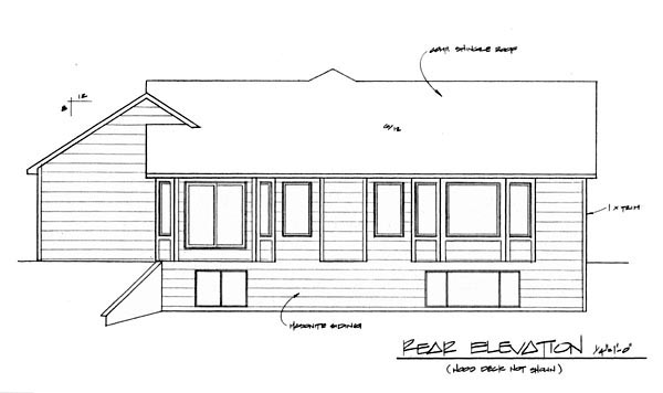 House Plan 62614 | Traditional Style Plan with 1449 Sq Ft, 3 Bedrooms, 2 Bathrooms, 3 Car Garage Rear Elevation