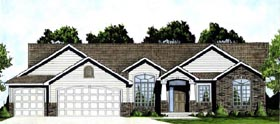 Traditional House Plan 62615 with 3 Beds, 2 Baths, 3 Car Garage Elevation