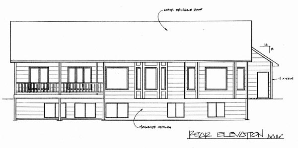 Traditional Rear Elevation of Plan 62615