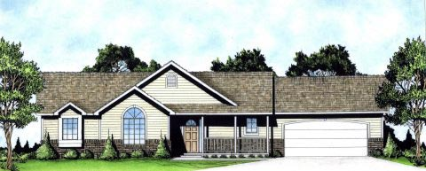 Ranch, Traditional House Plan 62620 with 3 Beds, 2 Baths, 2 Car Garage Elevation