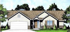 Traditional , Ranch House Plan 62622 with 2 Beds, 2 Baths, 2 Car Garage Elevation