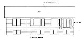 Traditional , Ranch House Plan 62622 with 2 Beds, 2 Baths, 2 Car Garage Rear Elevation