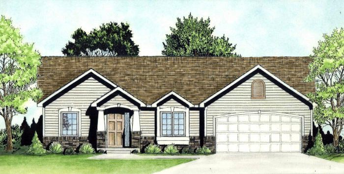 Traditional House Plan 62633 with 2 Beds, 2 Baths, 3 Car Garage Elevation