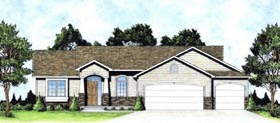 House Plan 62634 | Traditional Style Plan with 1224 Sq Ft, 3 Bed, 2 Bath, 3 Car Garage Elevation