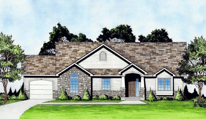 Traditional House Plan 62639 with 2 Beds, 2 Baths, 3 Car Garage Elevation