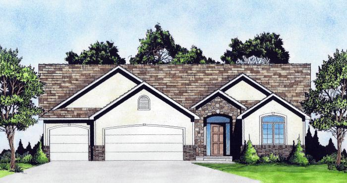 Traditional House Plan 62644 with 2 Beds, 3 Baths, 3 Car Garage Front Elevation