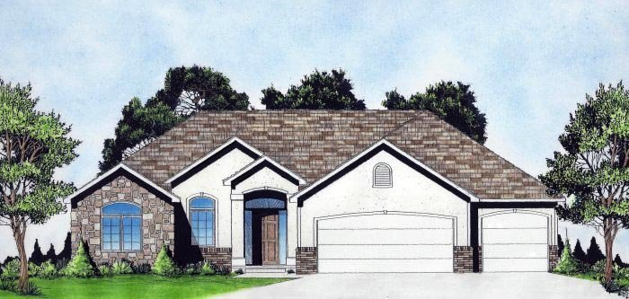 House Plan 62649 | Traditional Style House Plan with 1614 Sq Ft, 3 Bed, 2 Bath, 3 Car Garage Elevation