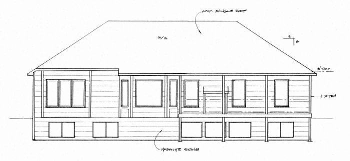 House Plan 62649 | Traditional Style House Plan with 1614 Sq Ft, 3 Bed, 2 Bath, 3 Car Garage Rear Elevation