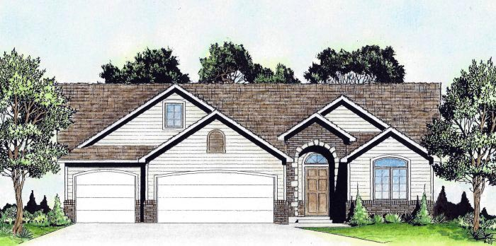 Traditional House Plan 62650 with 3 Beds, 2 Baths, 3 Car Garage Elevation