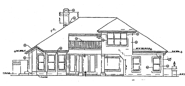 Florida Mediterranean Rear Elevation of Plan 63009