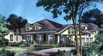 Bungalow, Craftsman House Plan 63016 with 3 Beds, 3 Baths, 2 Car Garage Elevation