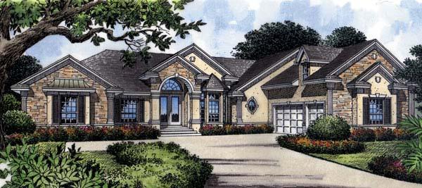 Mediterranean House Plan 63018 with 4 Beds, 4 Baths, 3 Car Garage Front Elevation