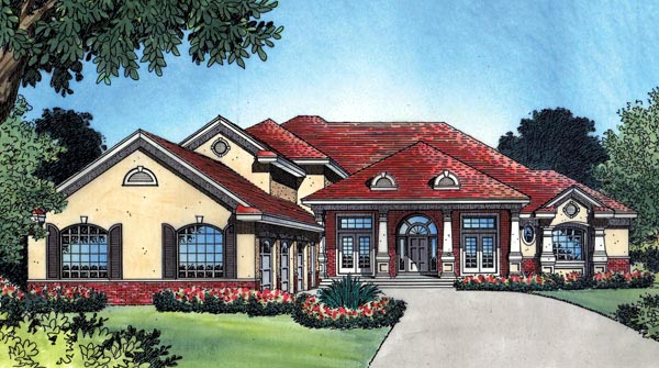 House Plan 63023 | Florida Mediterranean Southern Traditional Style Plan with 3557 Sq Ft, 4 Bedrooms, 5 Bathrooms, 3 Car Garage Elevation