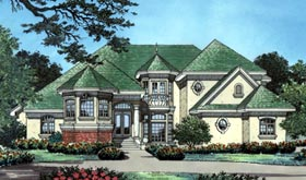House Plan 63024 | Mediterranean Victorian Style Plan with 3680 Sq Ft, 3 Bedrooms, 4 Bathrooms, 3 Car Garage Elevation