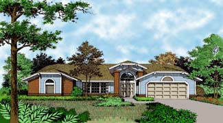 Mediterranean One-Story Elevation of Plan 63029