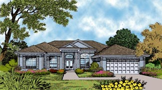 Mediterranean One-Story Elevation of Plan 63034
