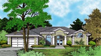 Mediterranean House Plan 63043 with 4 Beds, 3 Baths, 2 Car Garage Elevation