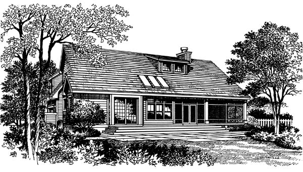 Traditional , Bungalow House Plan 63049 with 3 Beds, 3 Baths, 2 Car Garage Rear Elevation