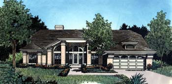 Mediterranean, One-Story House Plan 63050 with 4 Beds , 2 Baths , 2 Car Garage Elevation
