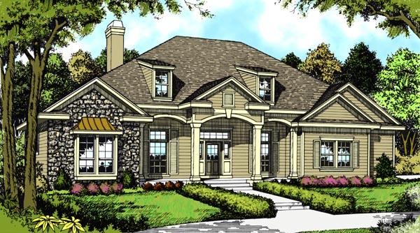 European House Plan 63056 with 4 Beds, 3 Baths, 2 Car Garage Elevation