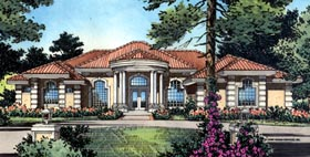 Mediterranean House Plan 63068 with 4 Beds, 4 Baths, 3 Car Garage Elevation