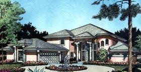 House Plan 63069 | Florida Mediterranean Style Plan with 3730 Sq Ft, 4 Bedrooms, 4 Bathrooms, 2 Car Garage Elevation