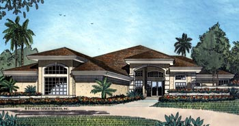 Florida, Mediterranean, One-Story House Plan 63070 with 5 Beds, 4 Baths, 2 Car Garage Elevation