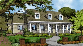 Cape Cod Colonial Country Elevation of Plan 63071