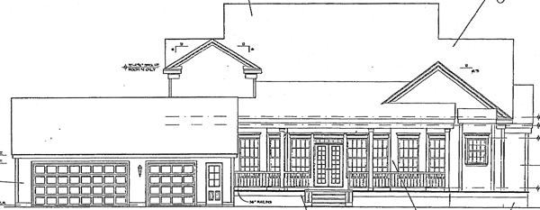 Cape Cod Colonial Country Rear Elevation of Plan 63071