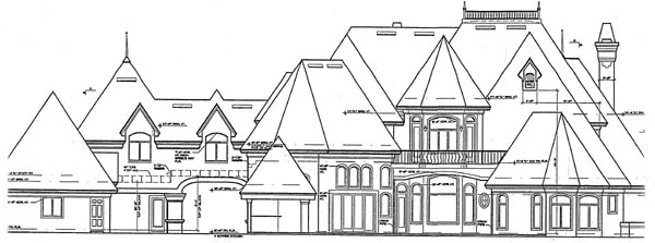 Victorian House Plan 63082 with 5 Beds, 8 Baths, 3 Car Garage Rear Elevation