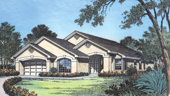 Mediterranean House Plan 63114 with 3 Beds, 2 Baths, 2 Car Garage Elevation