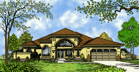 Contemporary , Florida , Mediterranean House Plan 63120 with 4 Beds, 2 Baths, 2 Car Garage Elevation
