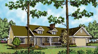 Country, One-Story, Southern, Traditional House Plan 63128 with 4 Beds, 3 Baths, 2 Car Garage Elevation