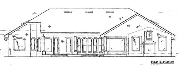 House Plan 63132 | Florida Mediterranean Style Plan with 3506 Sq Ft, 3 Bedrooms, 3 Bathrooms, 4 Car Garage Rear Elevation