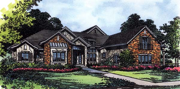 Mediterranean , Southern , Traditional House Plan 63159 with 4 Beds, 5 Baths, 2 Car Garage Elevation