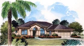 Southern , Mediterranean , French Country House Plan 63162 with 5 Beds, 3 Baths, 2 Car Garage Elevation