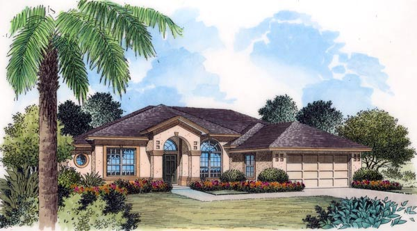 FrenchCountry, Mediterranean, Southern, House Plan 63162 with 5 Beds, 3 Baths, 2 Car Garage Elevation