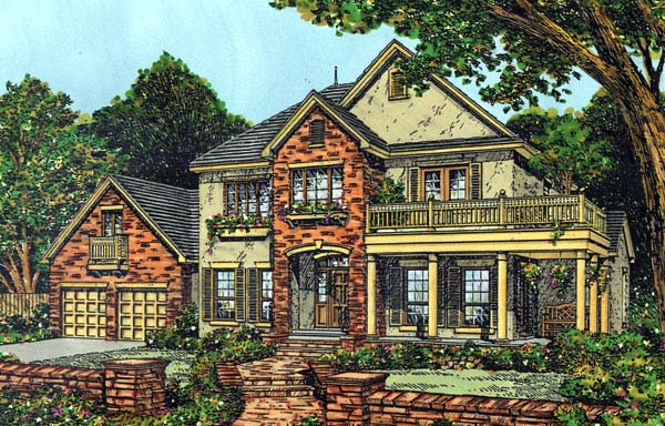 Mediterranean , Southern House Plan 63163 with 4 Beds, 4 Baths, 2 Car Garage Elevation