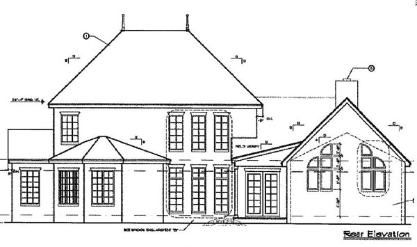 Mediterranean , Southern House Plan 63163 with 4 Beds, 4 Baths, 2 Car Garage Rear Elevation