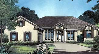 One-Story, Traditional House Plan 63183 with 4 Beds , 3 Baths , 2 Car Garage Elevation