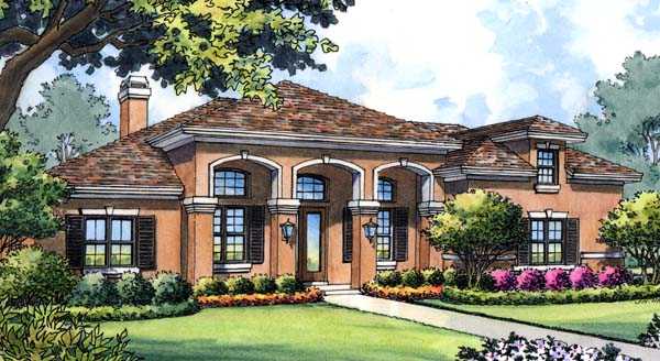 Colonial, Contemporary, Mediterranean House Plan 63216 with 4 Beds, 3 Baths, 3 Car Garage Elevation