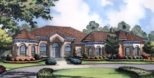 House Plan 63222 | Mediterranean Style Plan with 3595 Sq Ft, 3 Bedrooms, 4 Bathrooms, 3 Car Garage Elevation