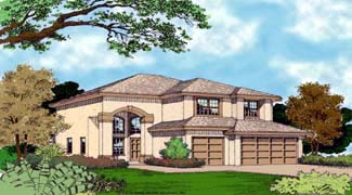 Contemporary, Florida, Mediterranean, Narrow Lot House Plan 63224 with 4 Beds, 3 Baths, 3 Car Garage Elevation